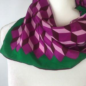 ECHO Silk Scarf Purple, Green, Geometric Print